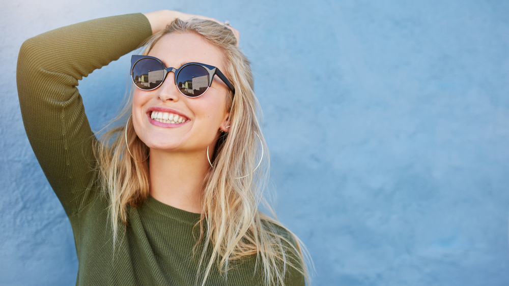 Woman wearing prescription sunglasses
